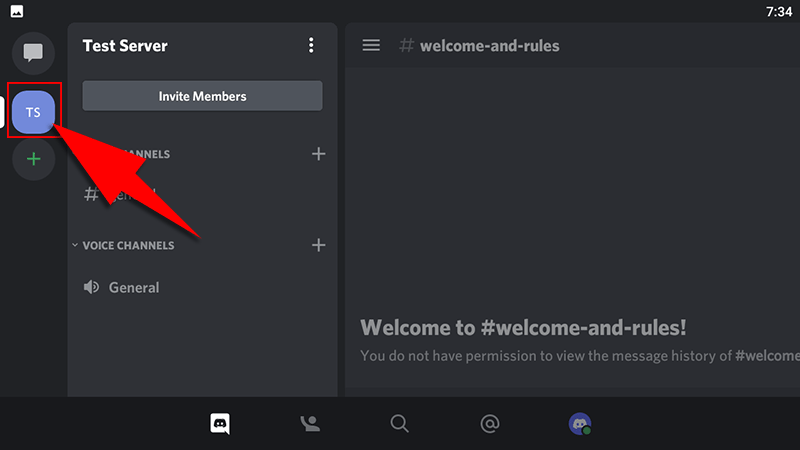 discord android app select server