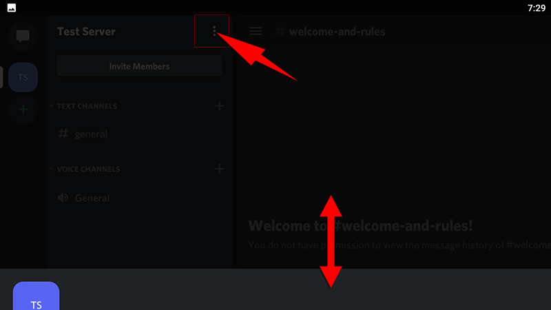 discord android app server options