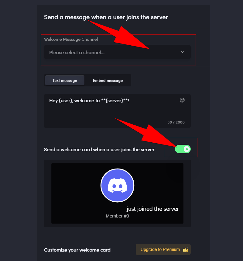 meee6 welcome message settings